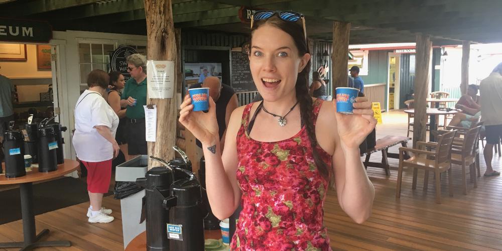 Kat sampling coffe at Kauai Coffee Plantation