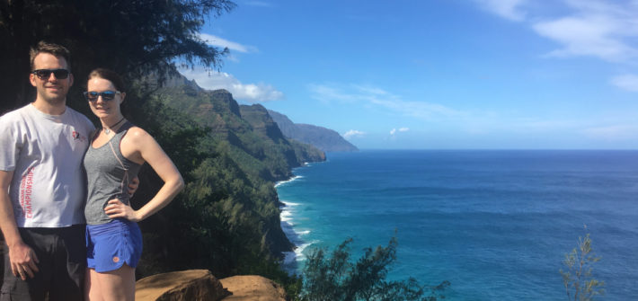 Dan and Kat hiking the Na Pali Coast Trail
