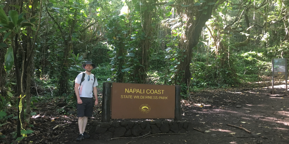 Dan at the beginning of the Na Pali Coast Trail