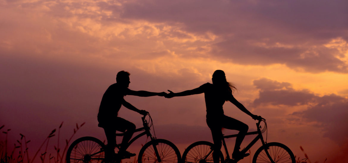 Silhouette of Cycling Couple